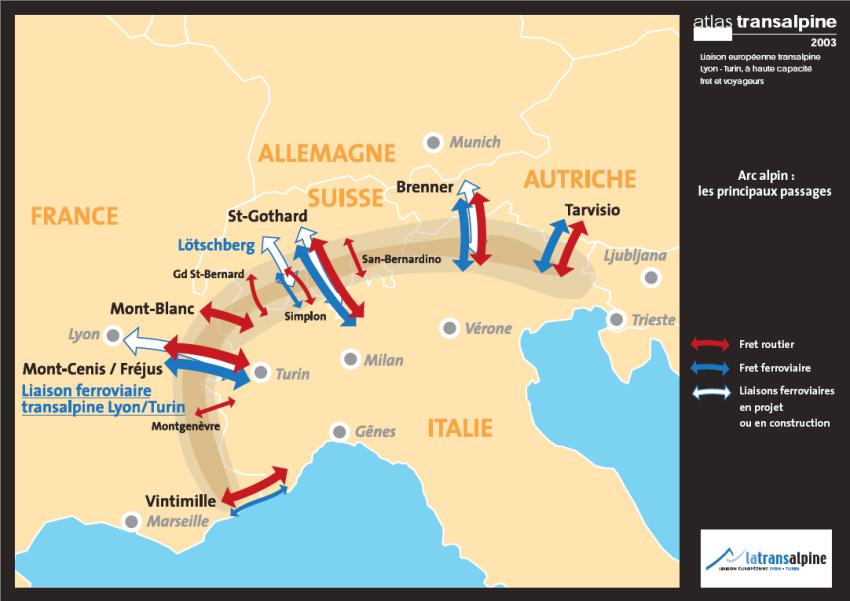 La barrière des Alpes et les différentes voies de passage