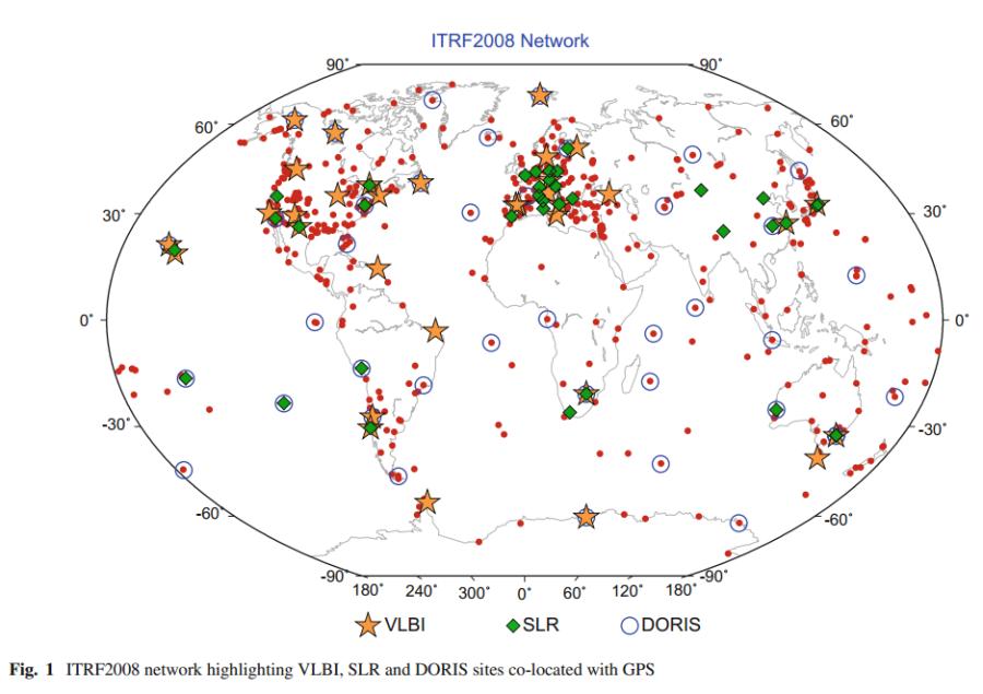 Réeau de stations utilisées pour le calcul de l'ITRF2008 (système international de référence terrestre), prenant appui sur quatre techniques de localisation : VLBI, SLR, DORIS et GPS.