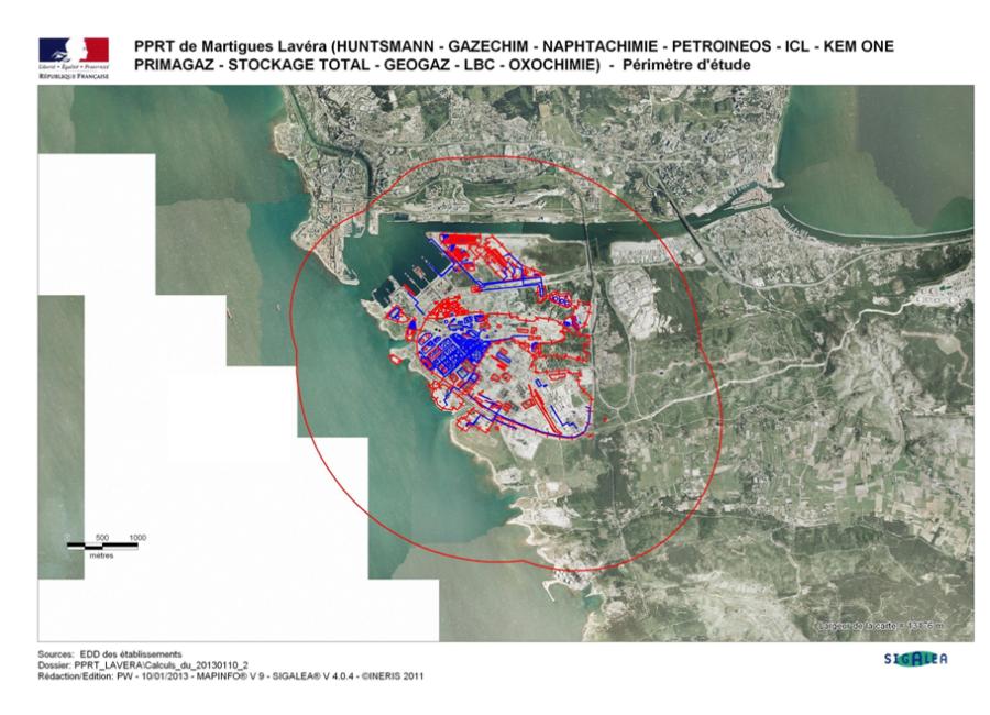 Périmètre du PPRT de Lavéra. Source : EDD des établissements.